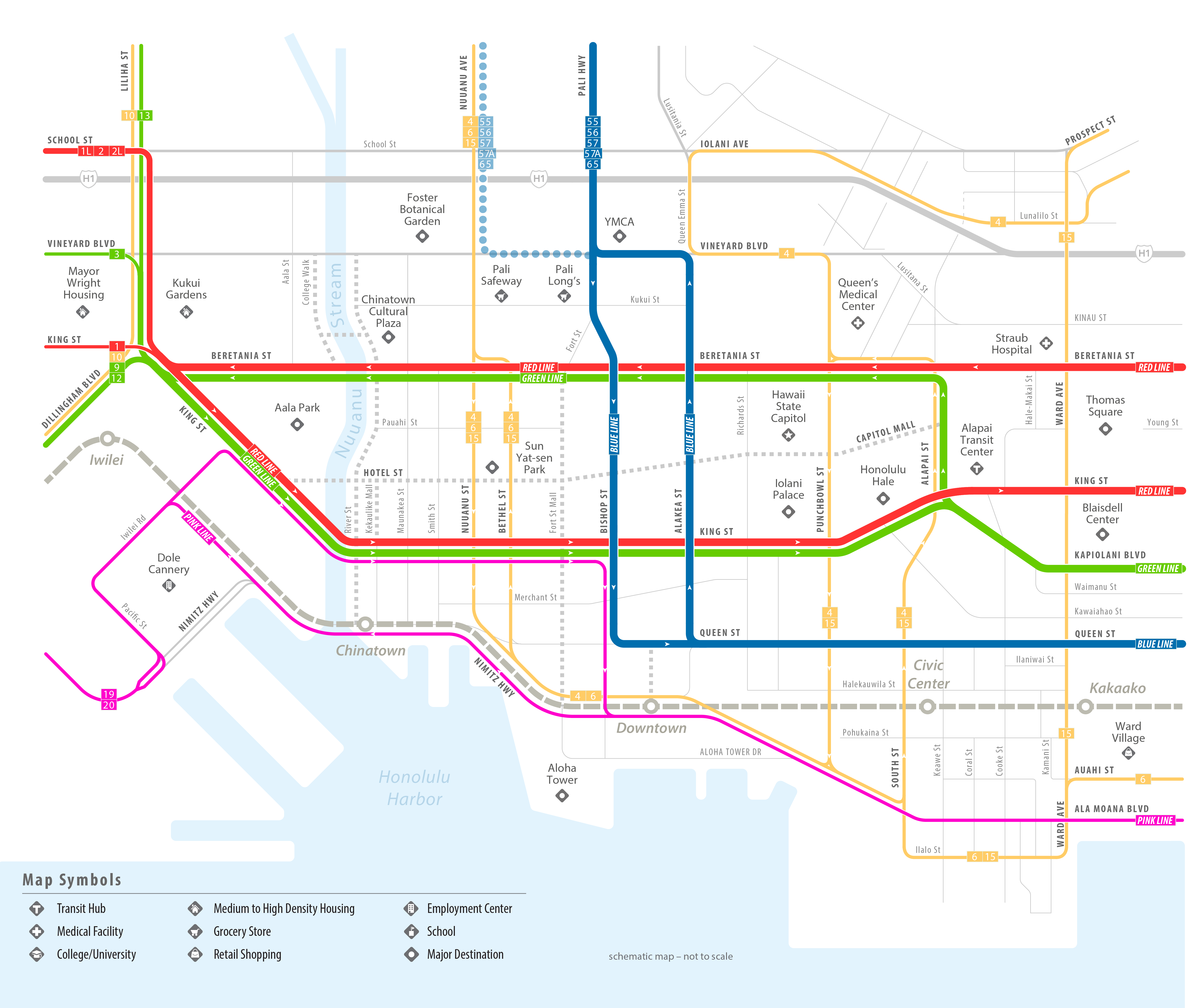 A conceptual map of high frequency bus routes in Downtown Honolulu