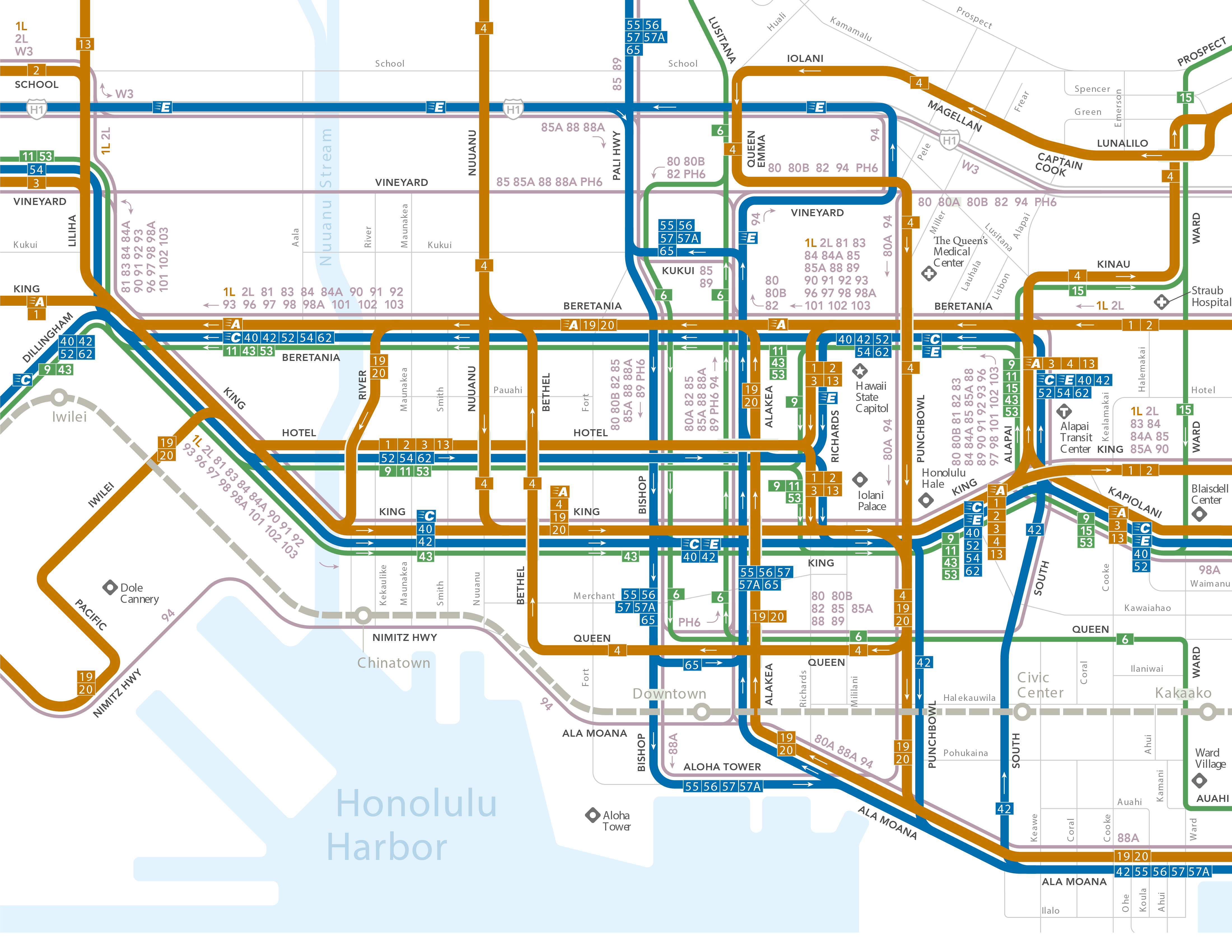 A map of existing bus routes in Downtown Honolulu